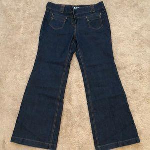 Vintage Retro Low Rise Flare Leg Denim Jeans 10P